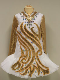 White Dress with gold sequin and crystals